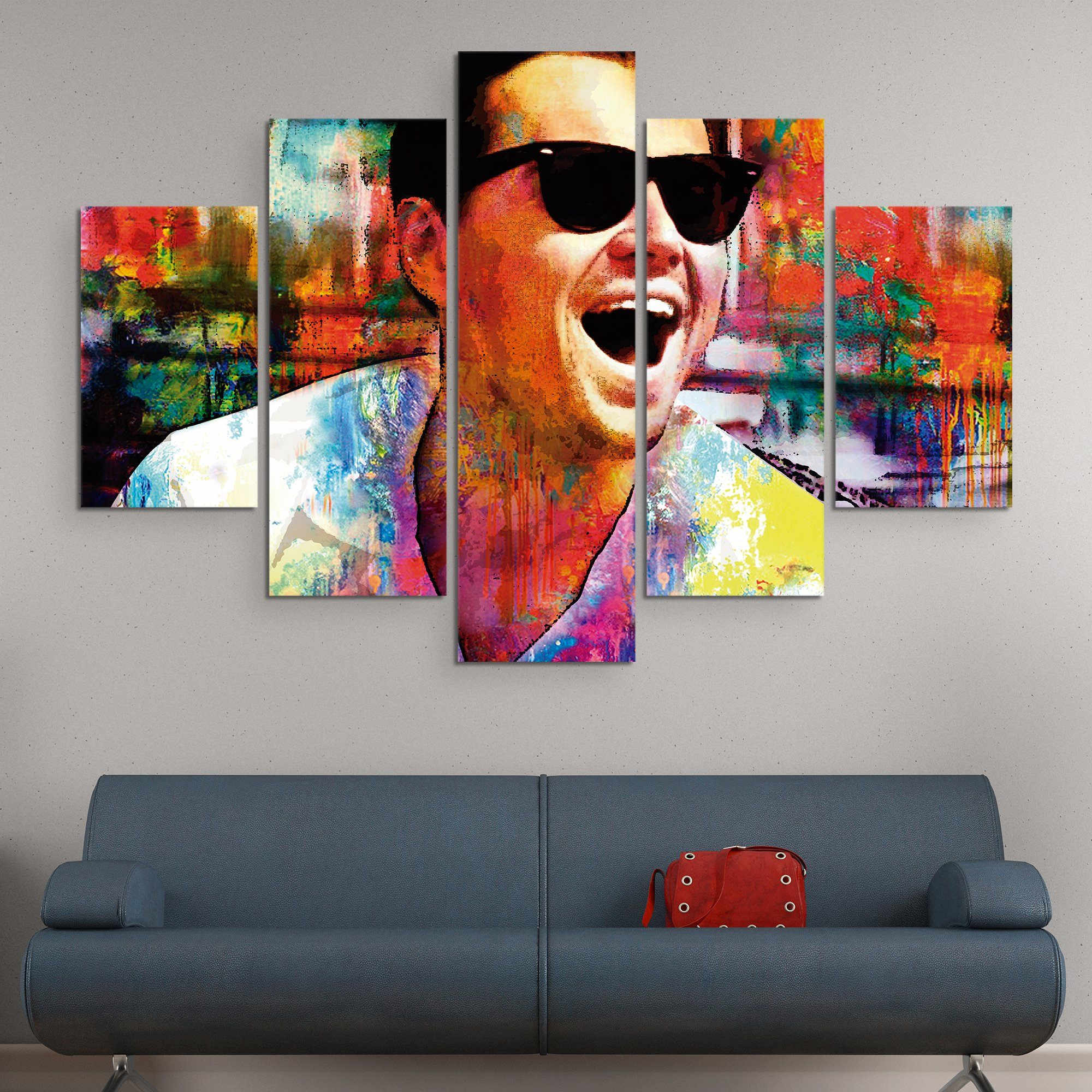 5 piece Laughing Leo wall art