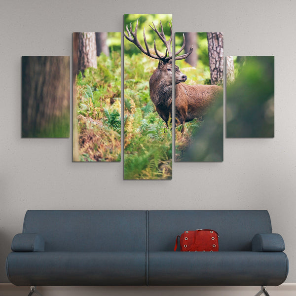 5 piece Red Deer in Autumn Forest wall art