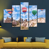 5 piece Colorful Balloons of Cappadocia wall art