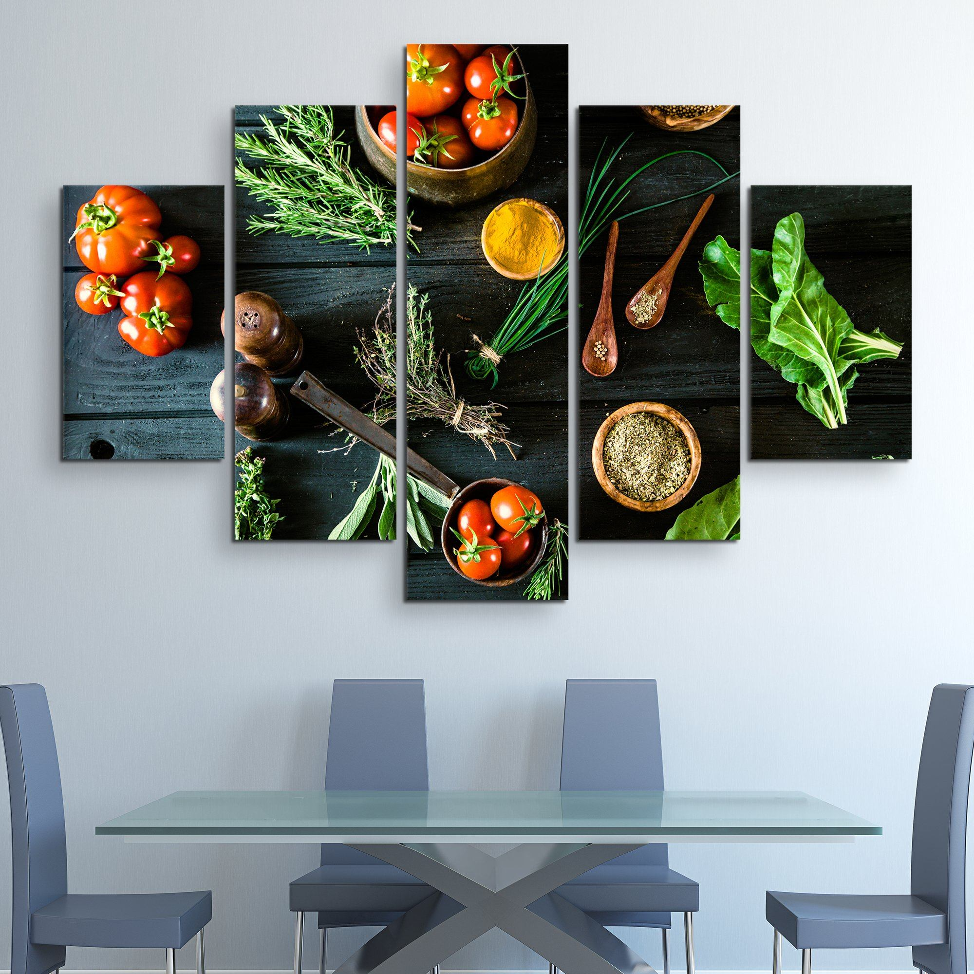 5 piece Bio Healthy Food wall art