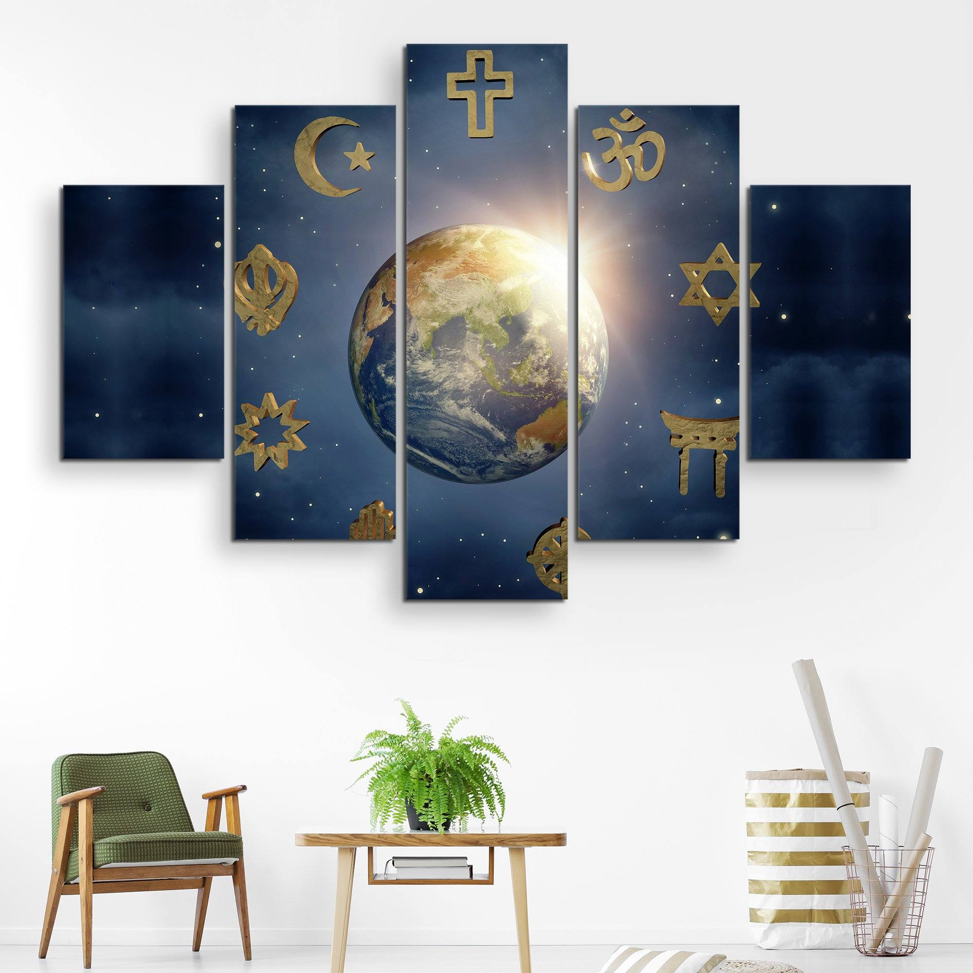 5 piece Religious World wall art