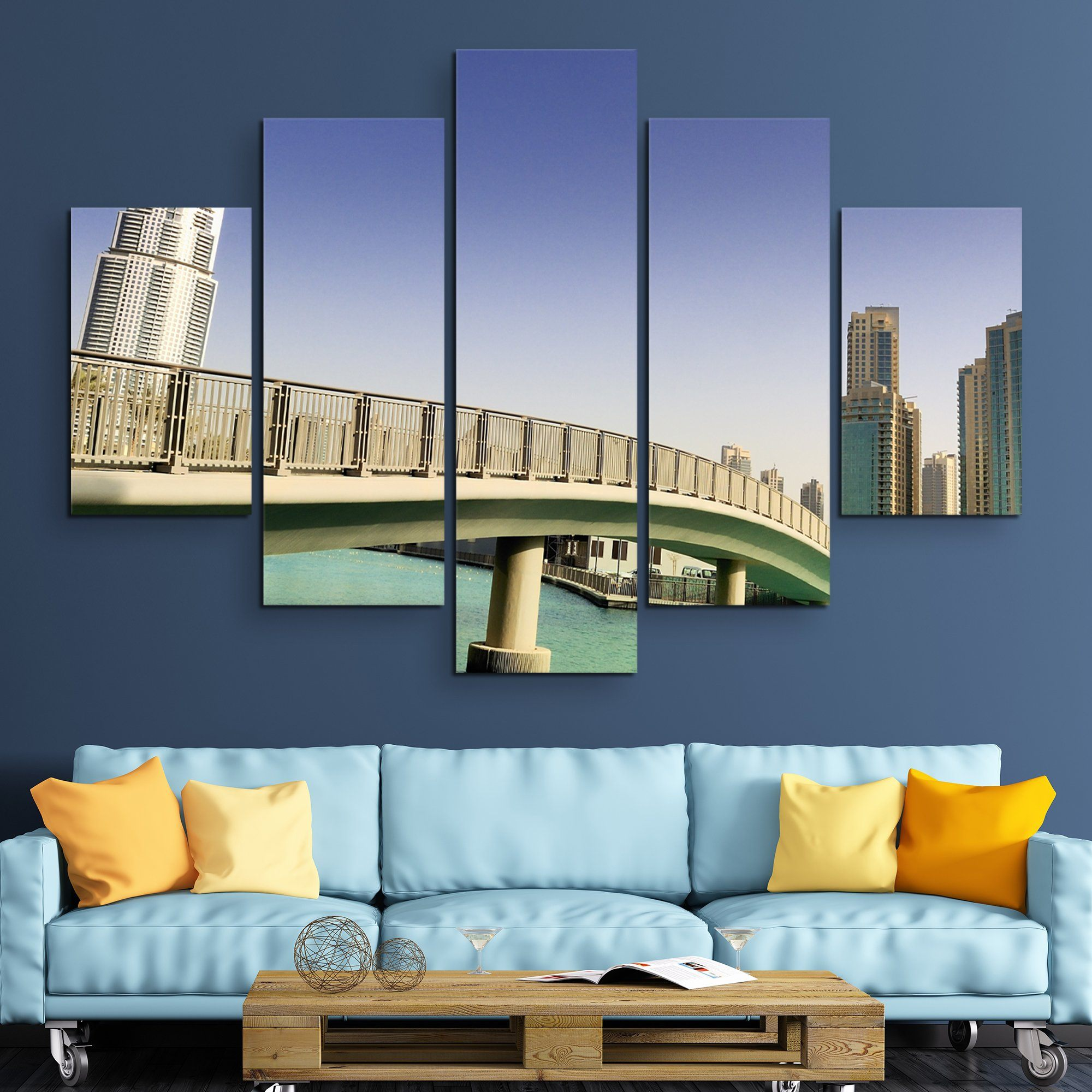 5 piece Footbridge In UAE wall art