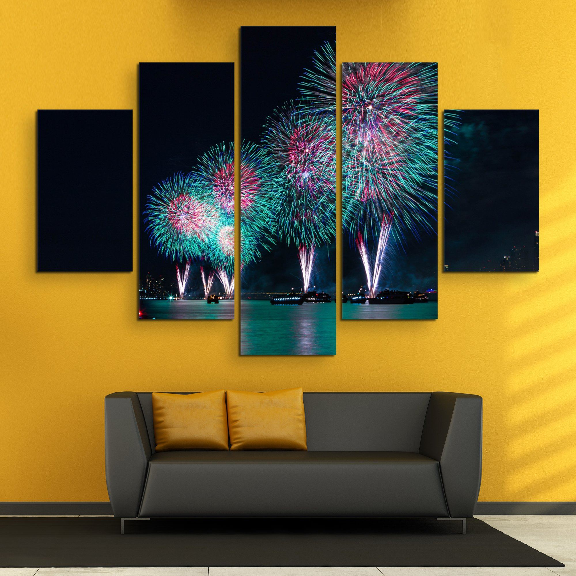 5 piece Fireworks in New York wall art