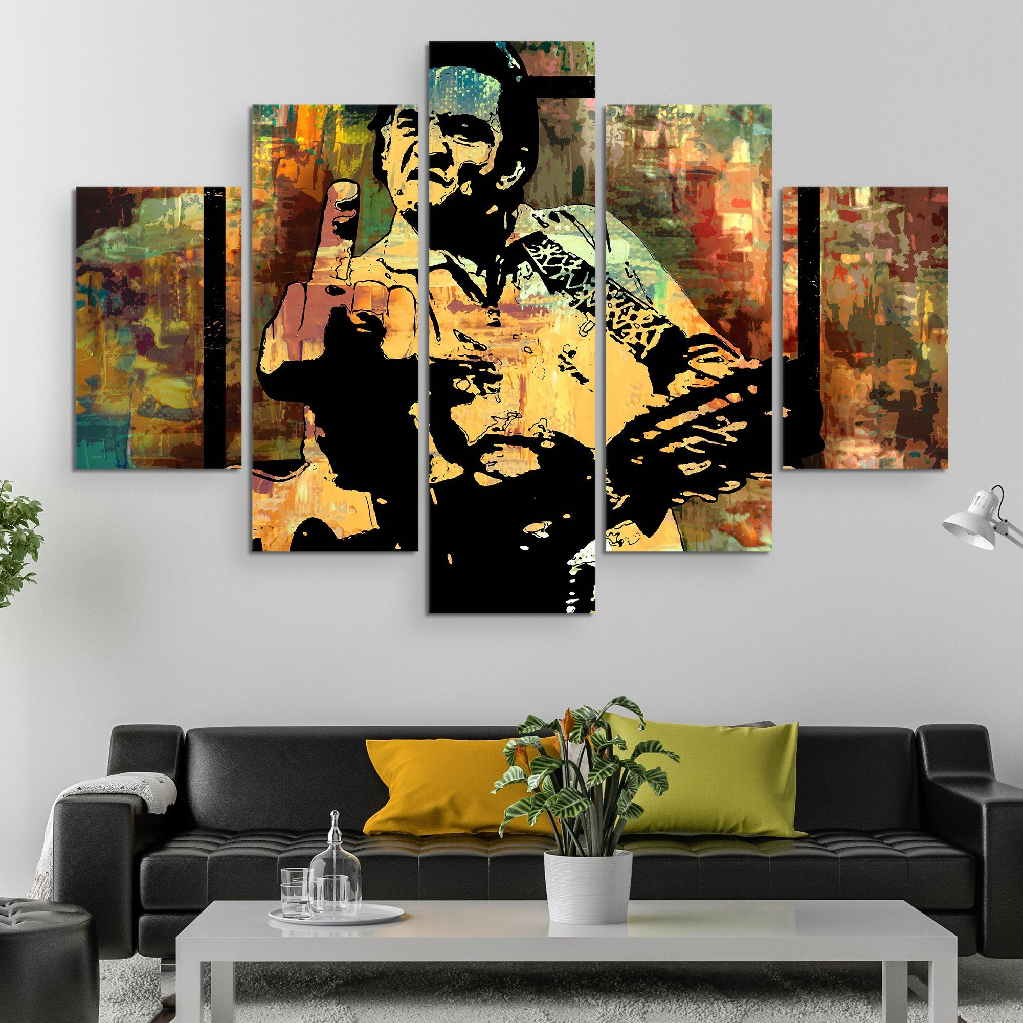 5 piece Johnny Cash Middle Finger wall art