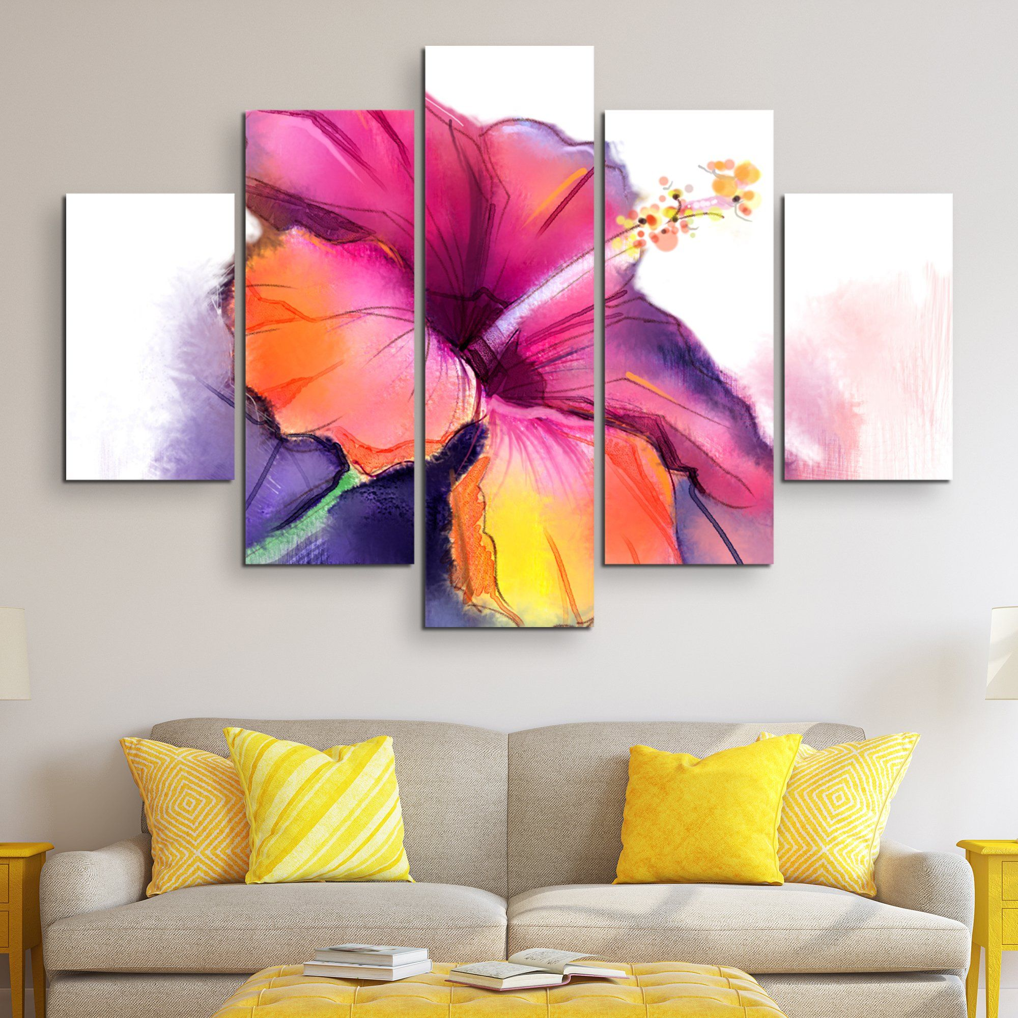 5 piece Abstract Hibiscus wall art