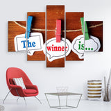 5 piece And the Winner is wall art