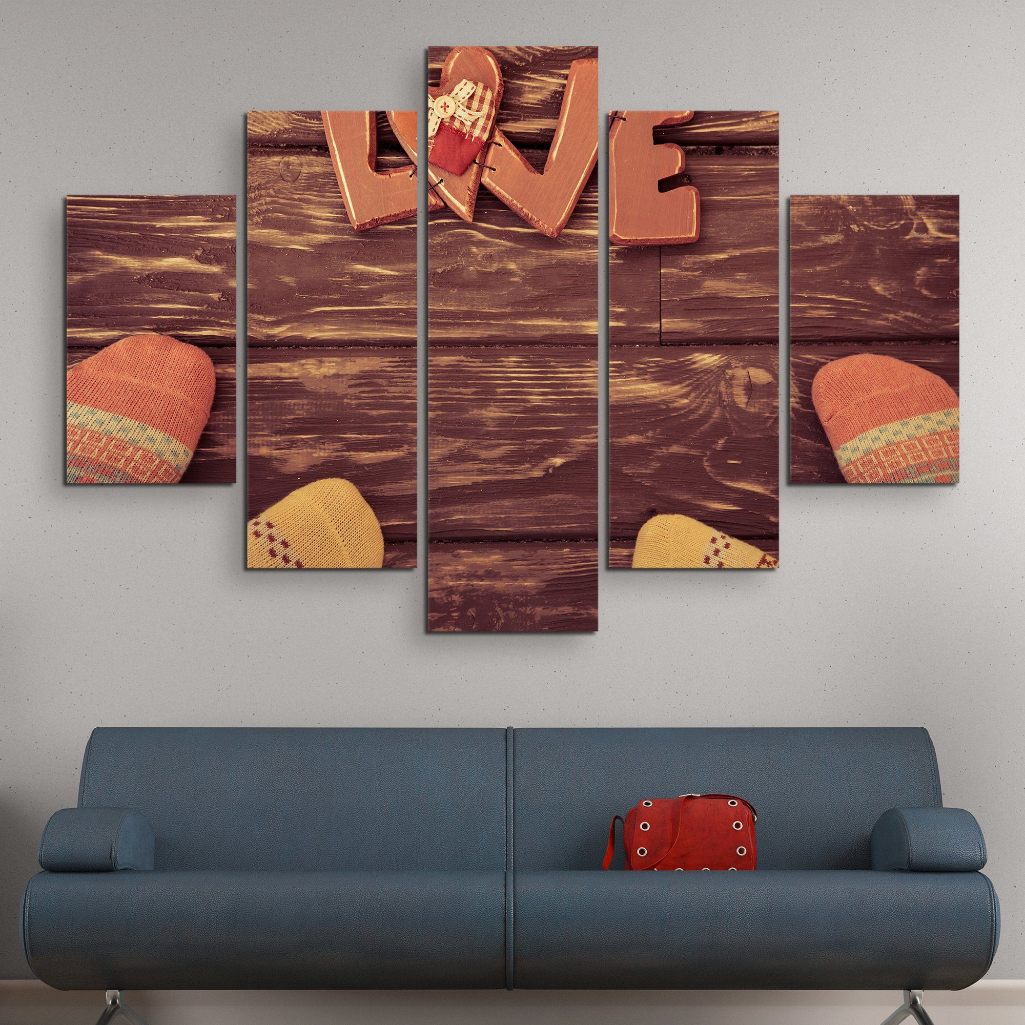 5 piece Socks for Love wall art