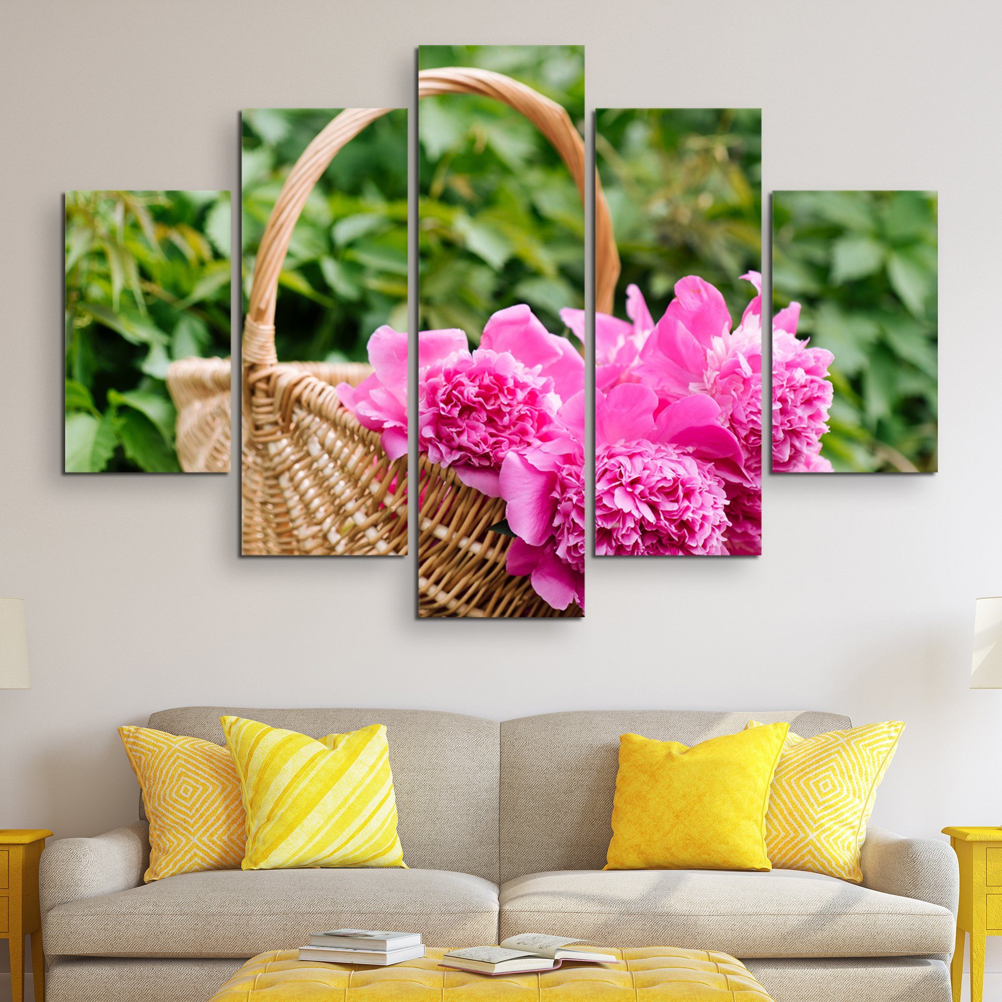 5 piece Peonies In A Basket wall art