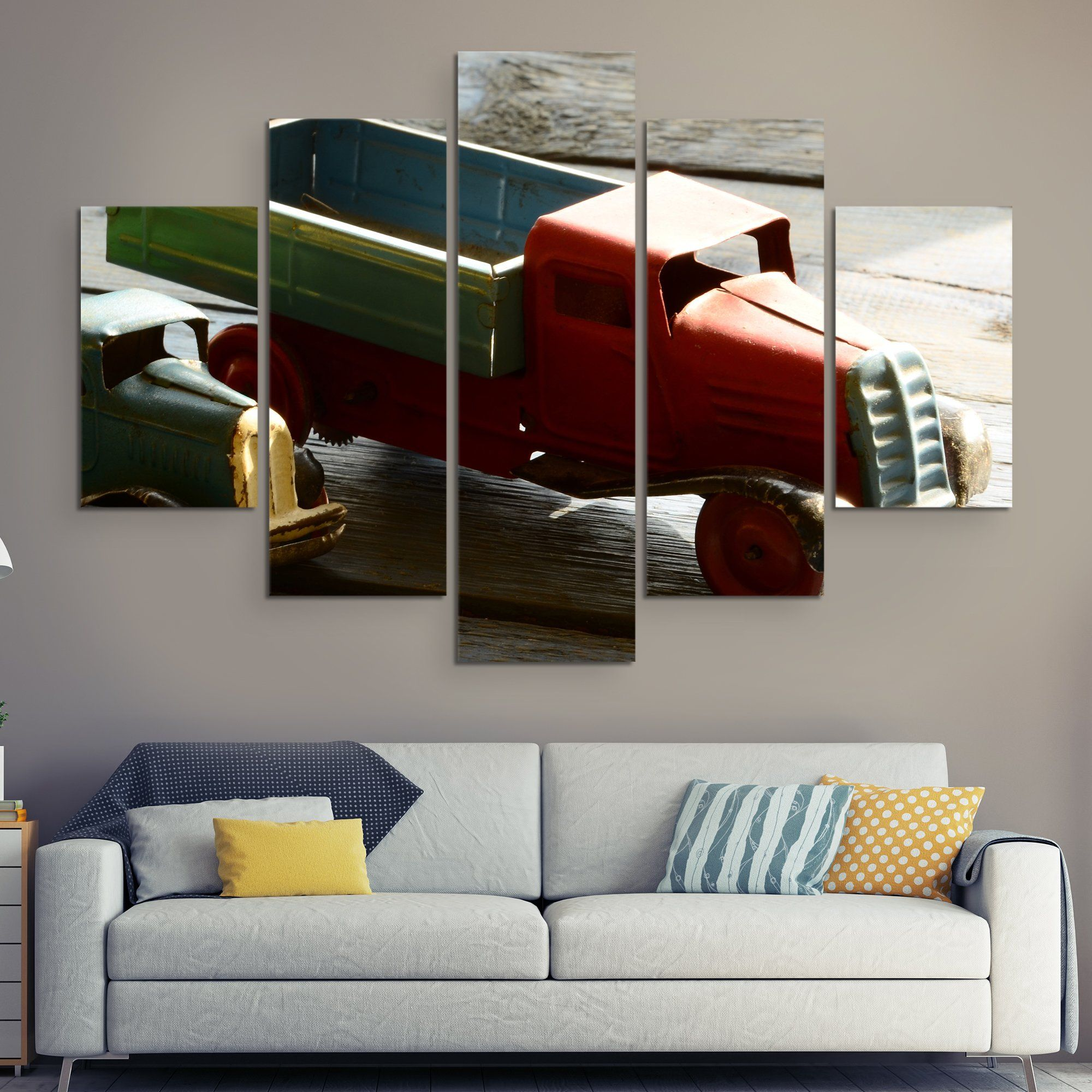 5 piece Miniature truck wall art