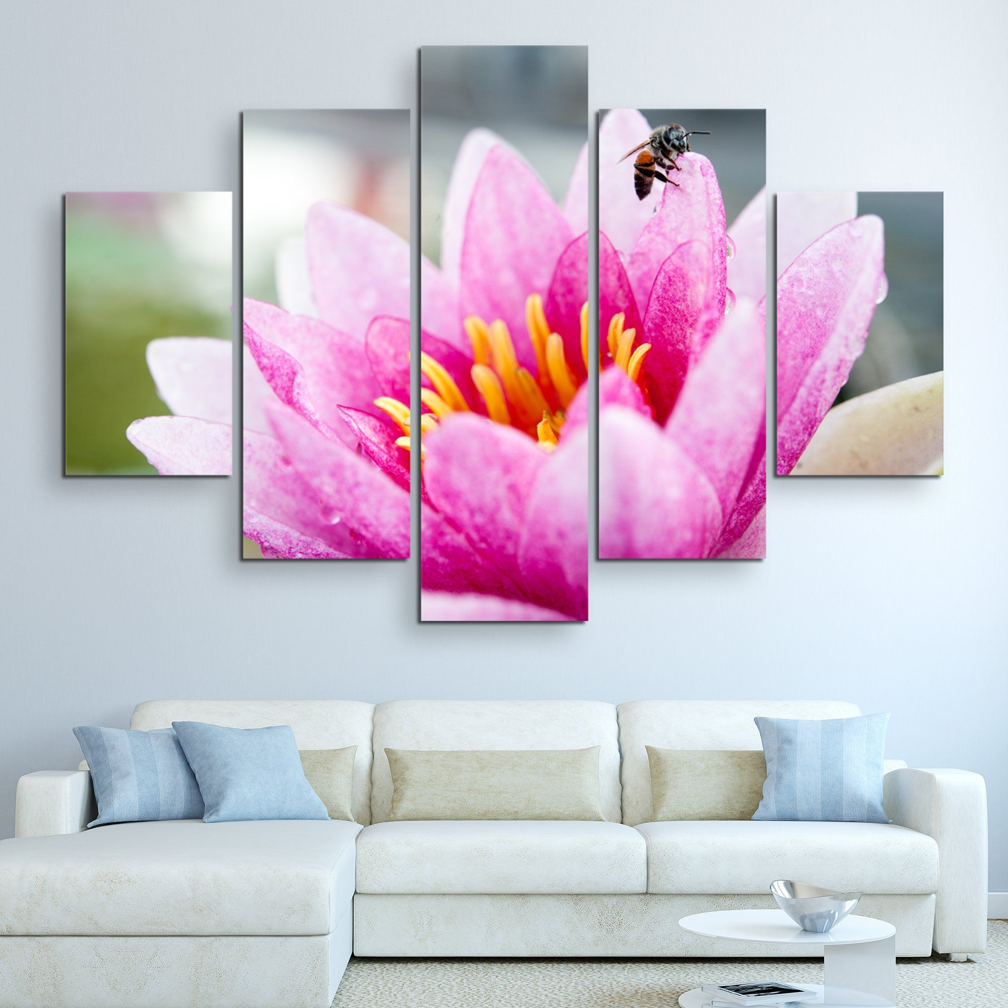5 piece Lotus And A Bee wall art