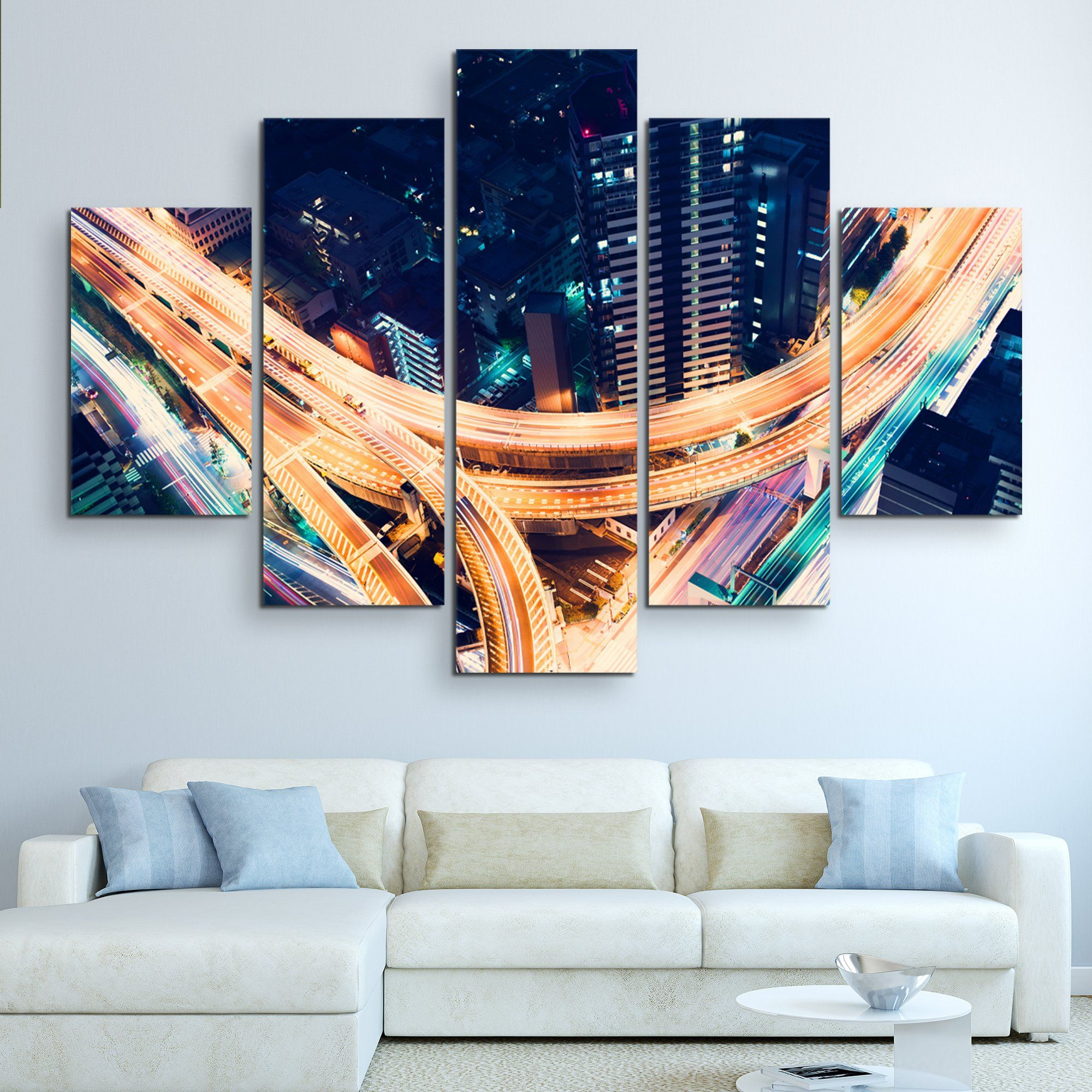 5 piece Road Night Lights wall art