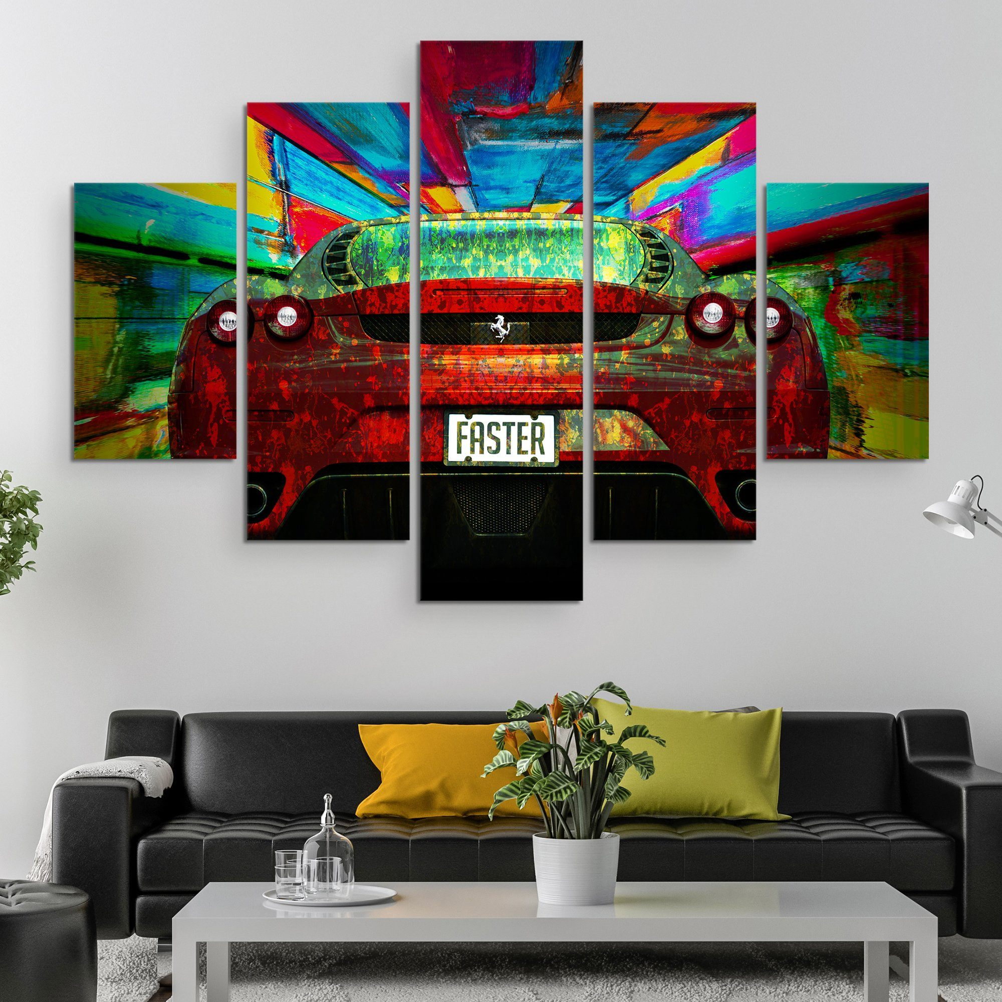 5 piece Ferrari - Faster wall art