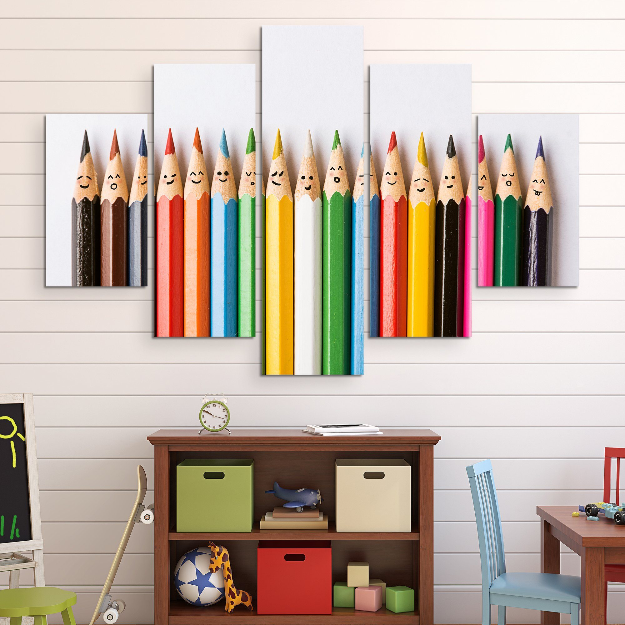 5 piece Happy Pencils wall art