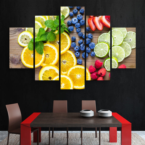 5 piece Sliced Fresh Fruits wall art