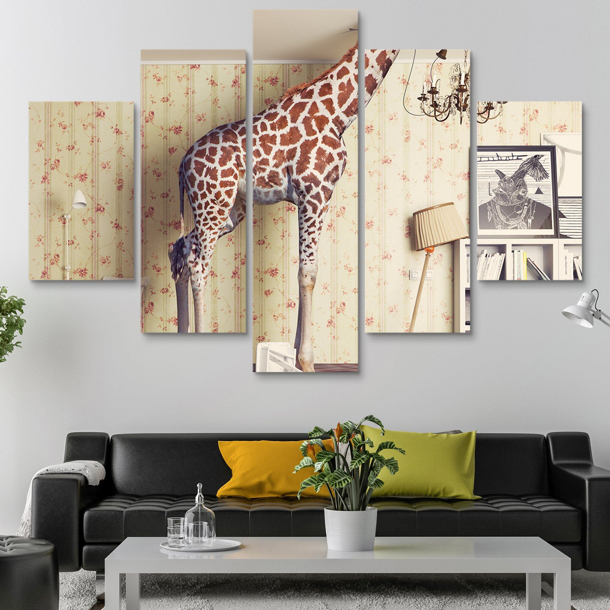 5 piece Giraffe Breaks the Ceiling wall art