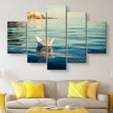 5 piece Origami Paper Boat wall art