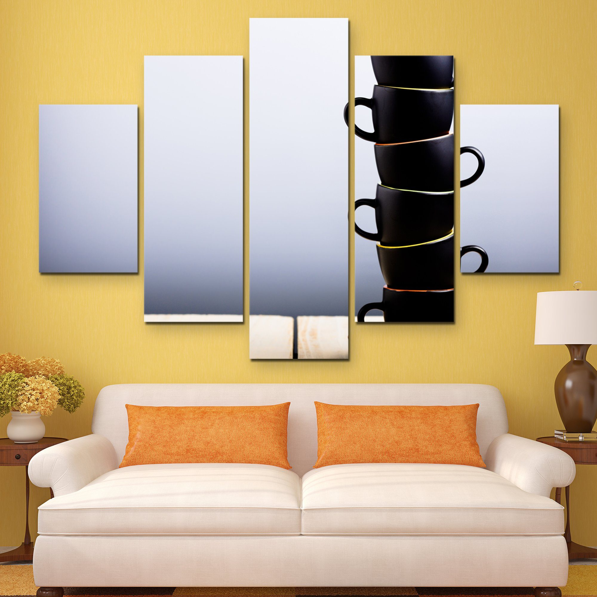 5 piece Coffee Cups Stack wall art