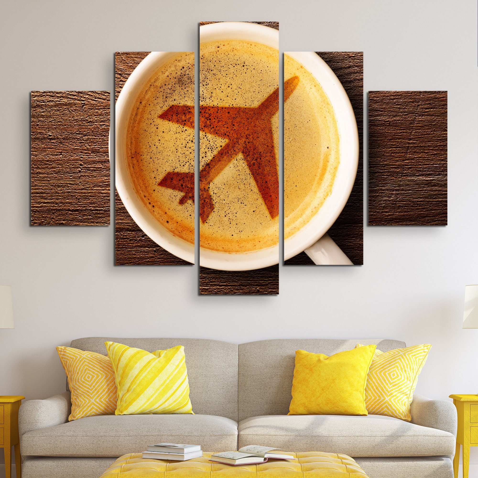 5 piece Airport Coffee wall art