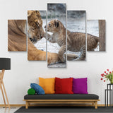 5 piece Lion and Cub wall art