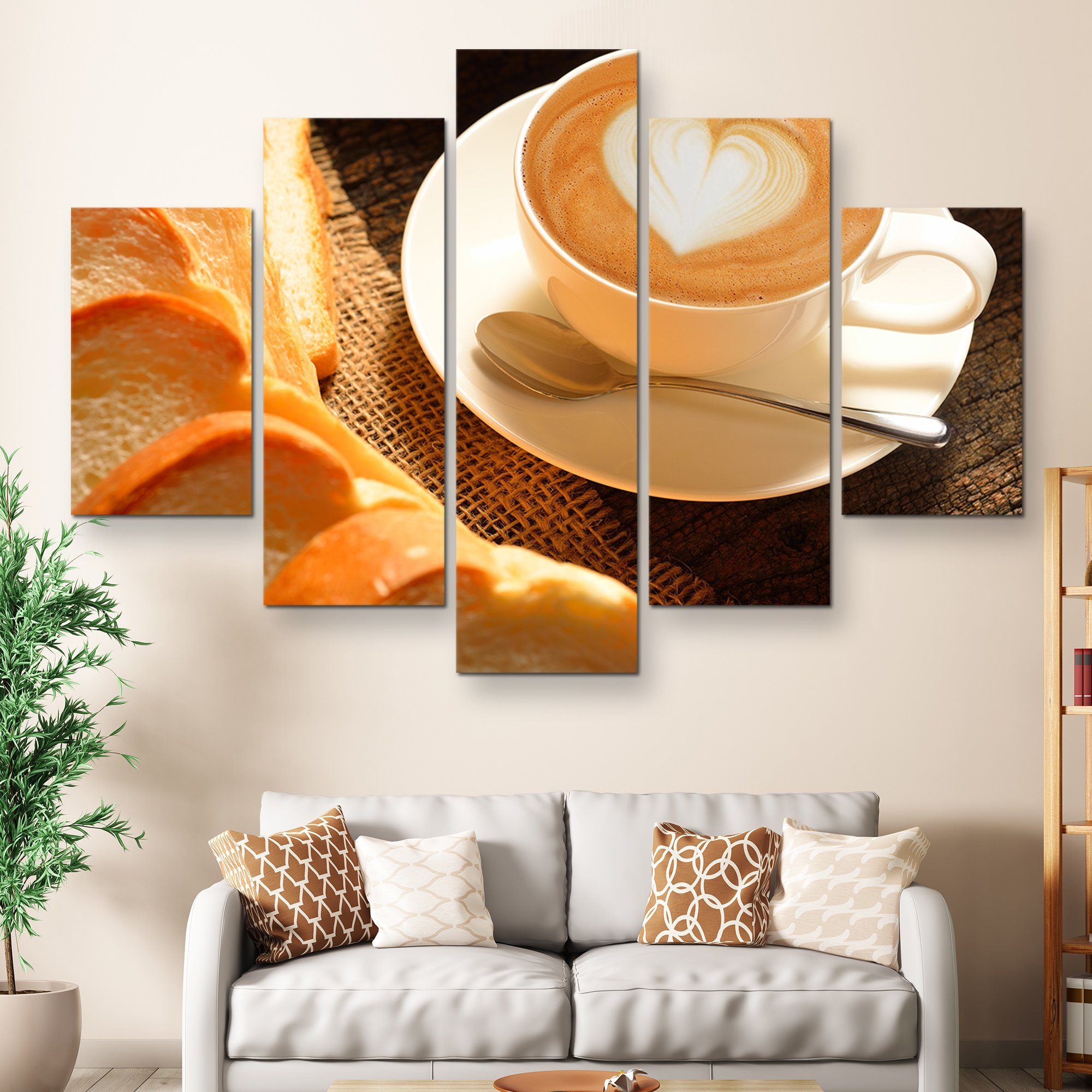 5 piece Some Bread and Latte wall art