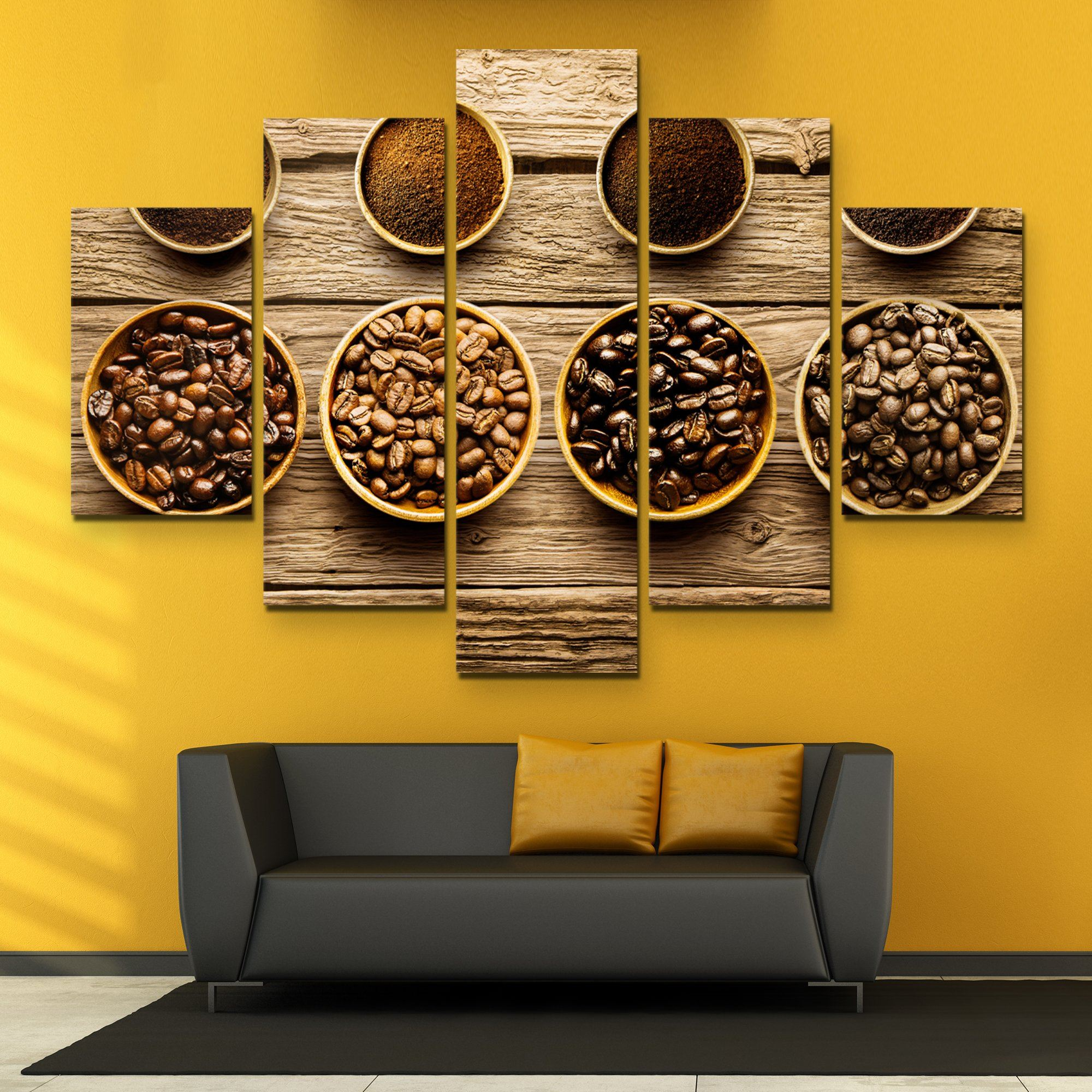 5 piece Coffee Beans wall art