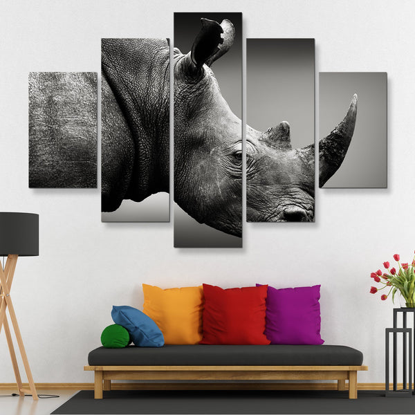 5 piece Rhinoceros Monochrome wall art