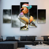 5 piece Mandarin Duck wall art