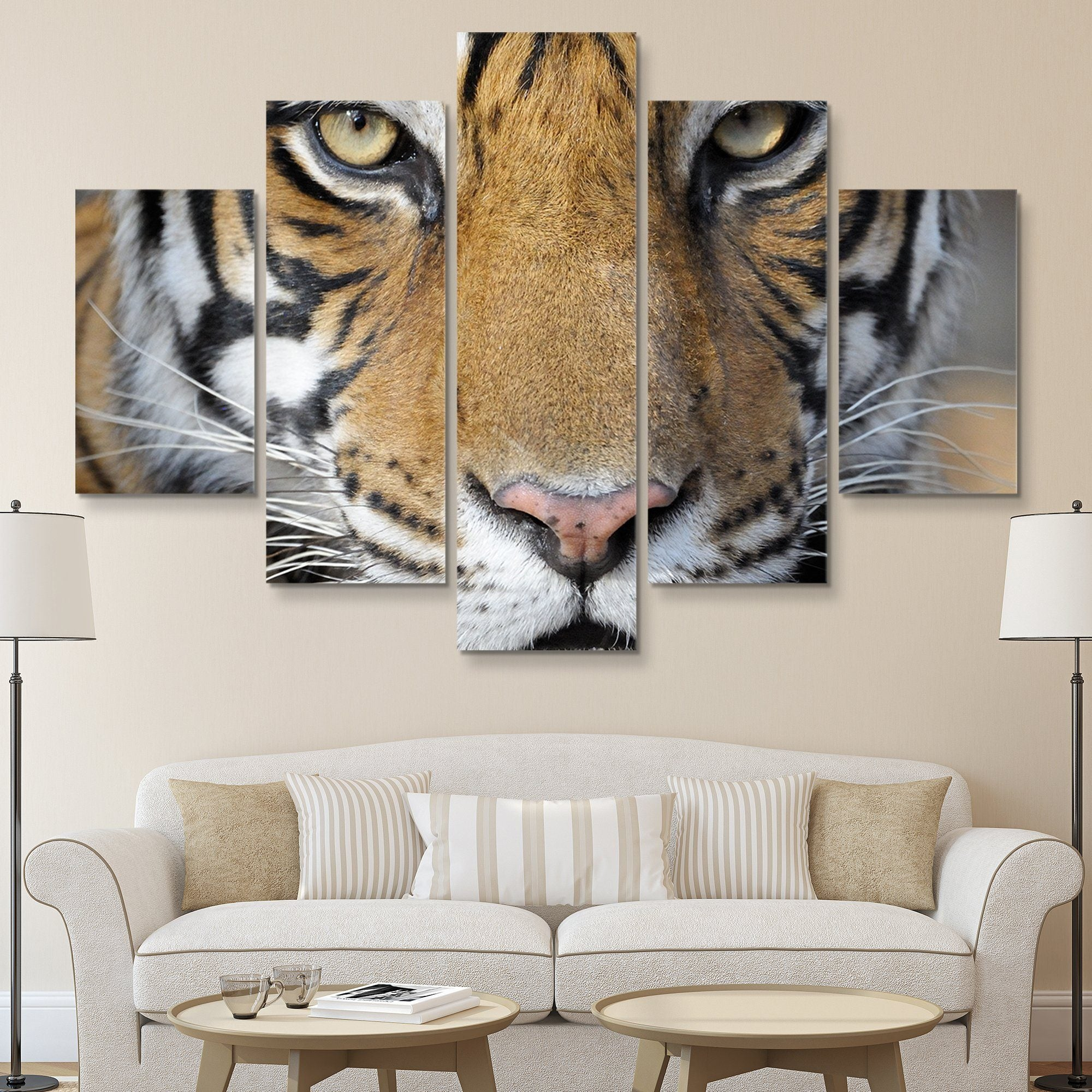 5 piece Bengal Tiger wall art