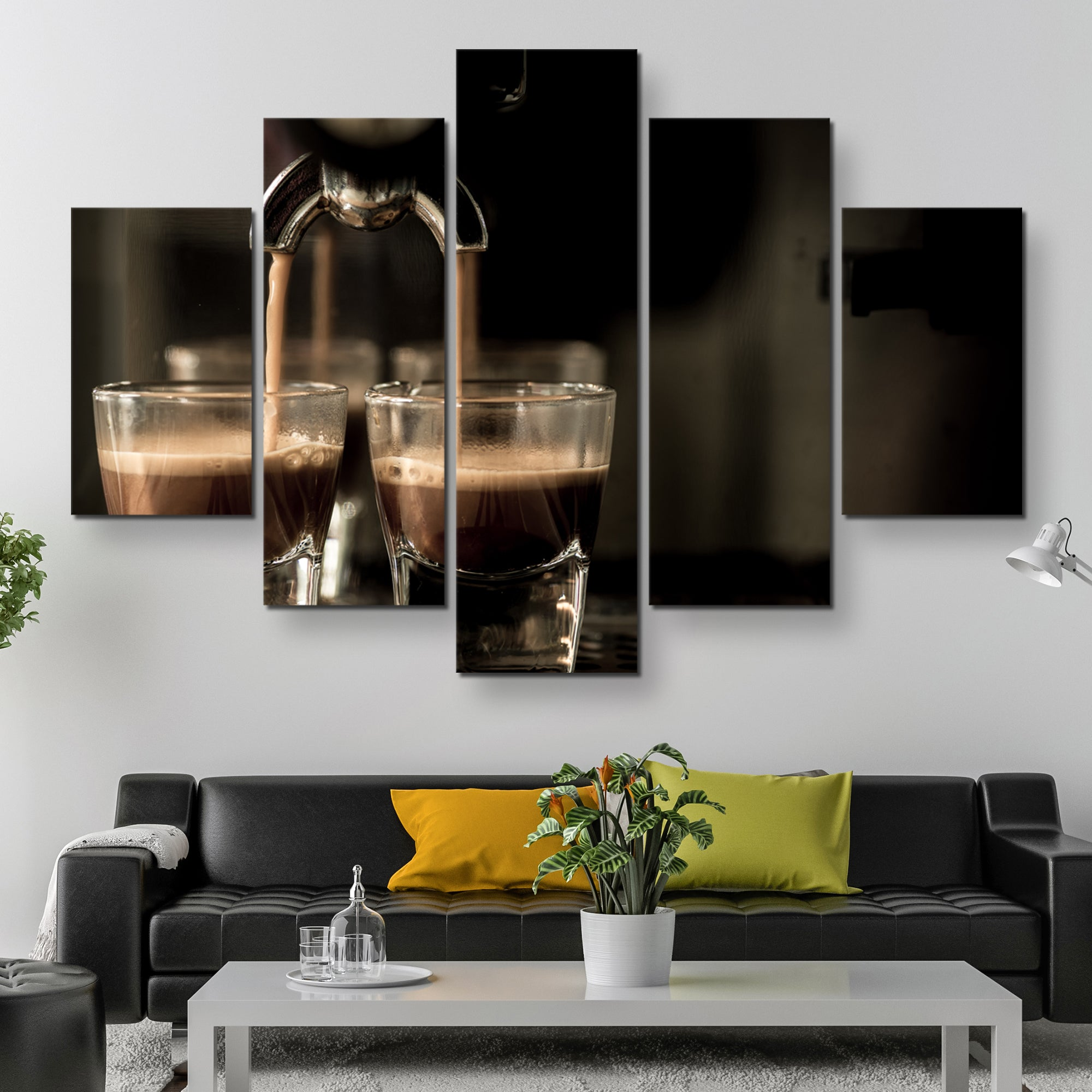 5 piece Coffee Machine wall art