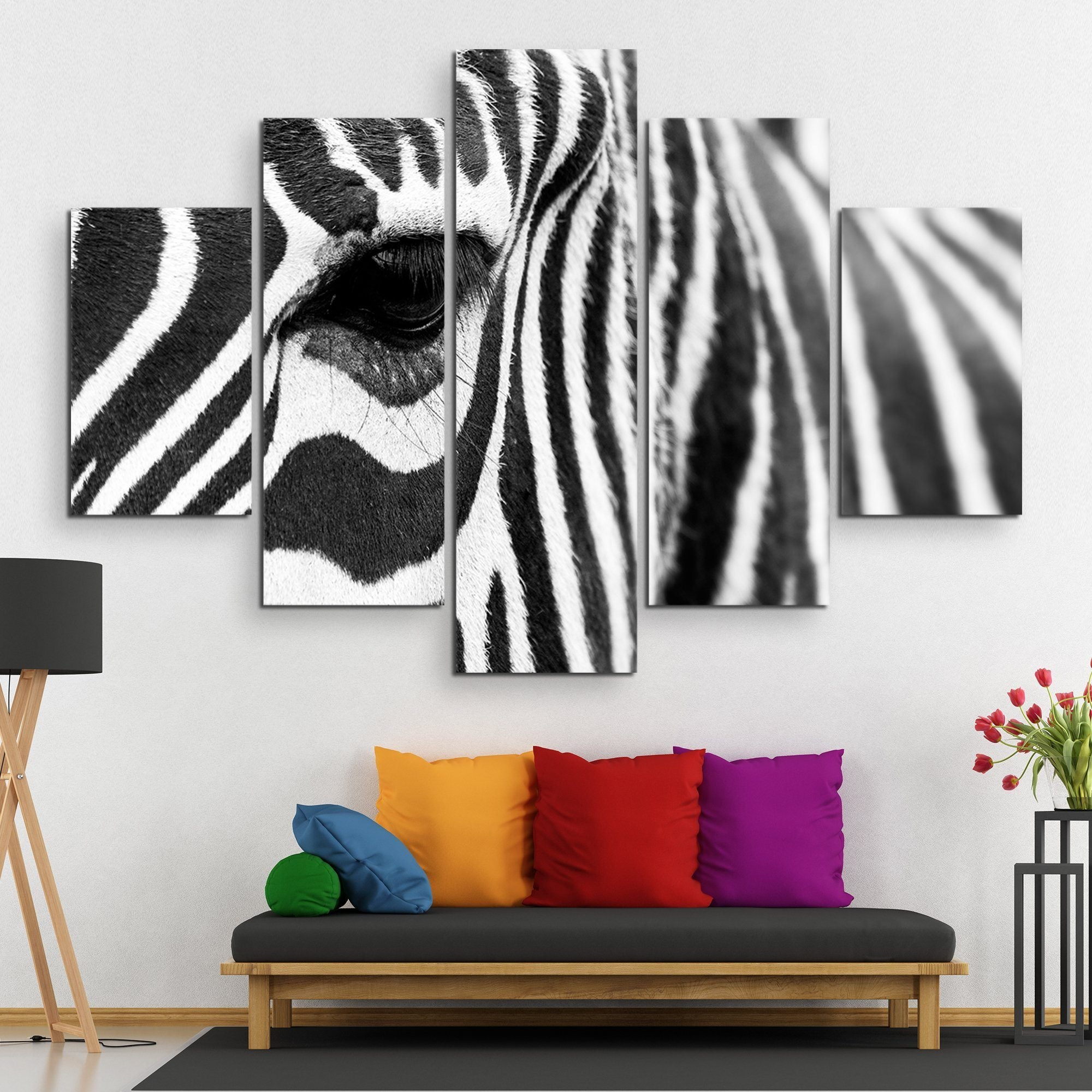 5 piece zebra wall art