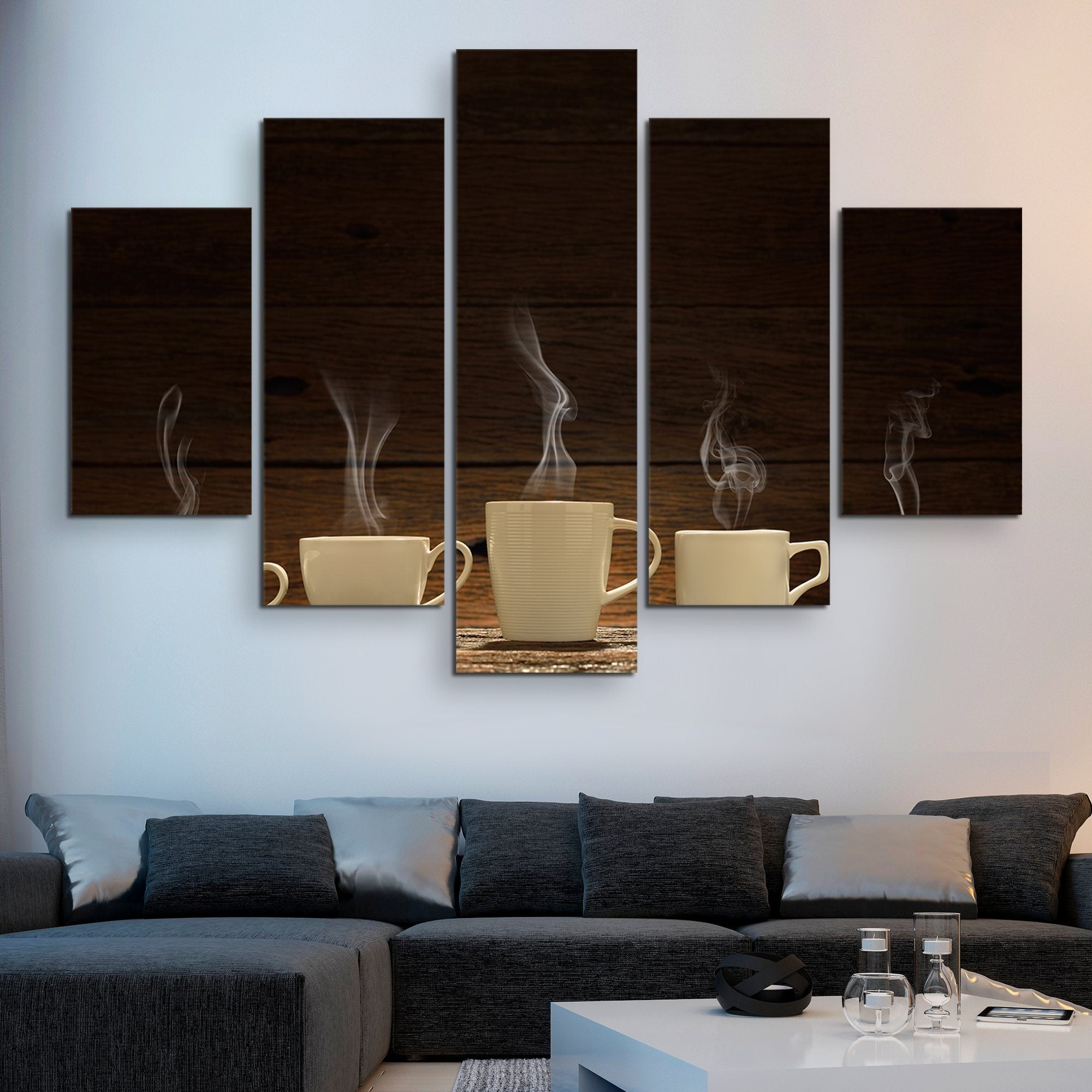 5 piece Variety of Cups wall art