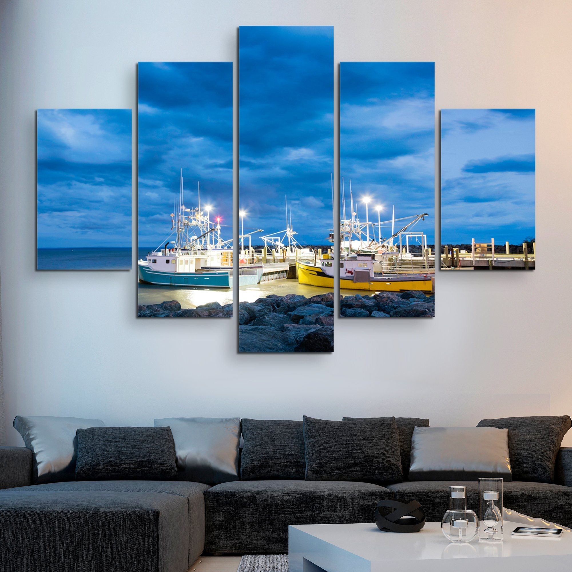 5 piece Fishing Boats in Alma wall art