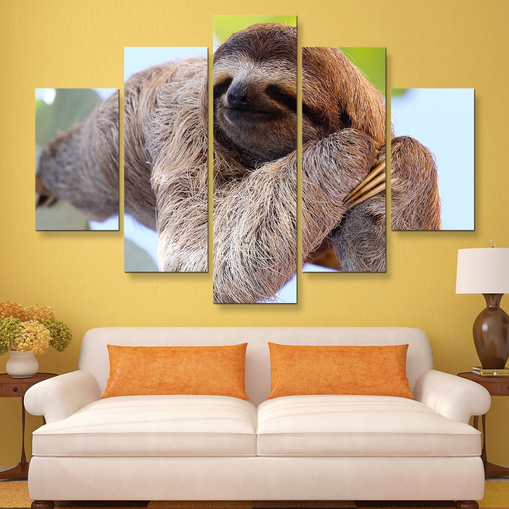 5 piece Happy Sloth wall art