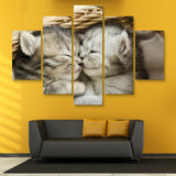 5 piece Kitten Hugs wall art