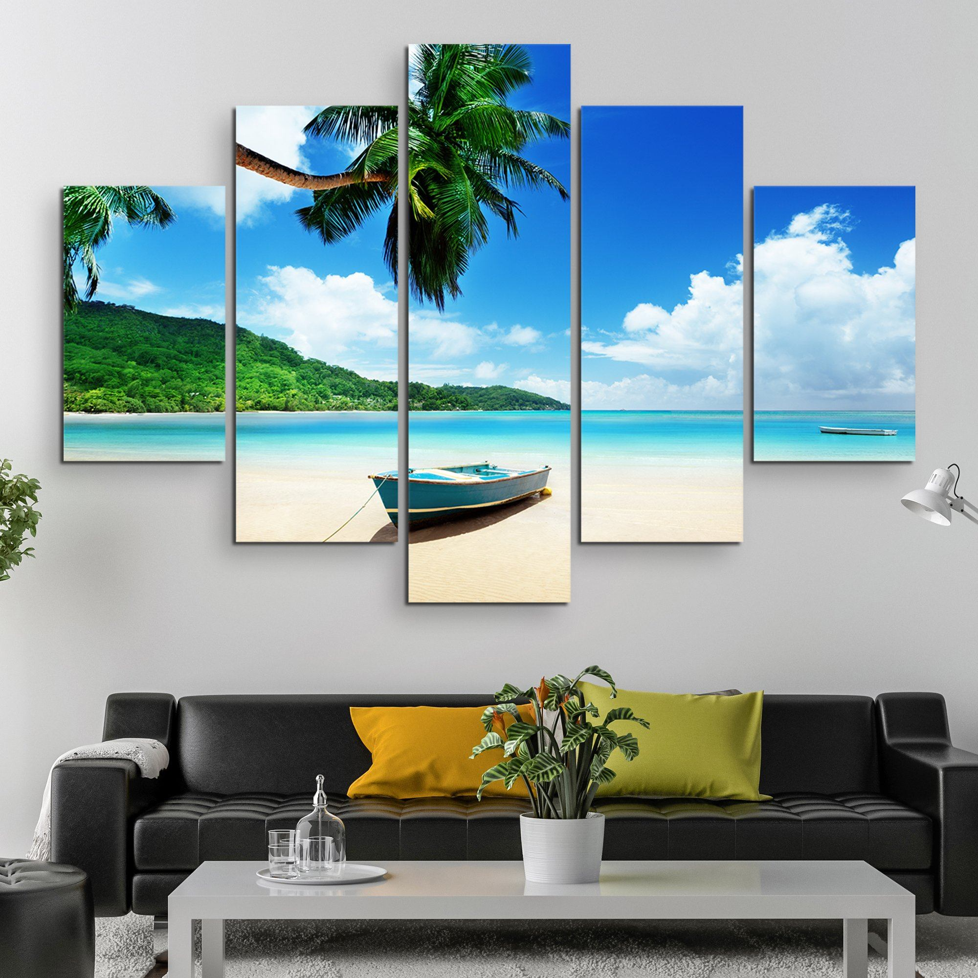 5 piece Boat on Mahe Island wall art