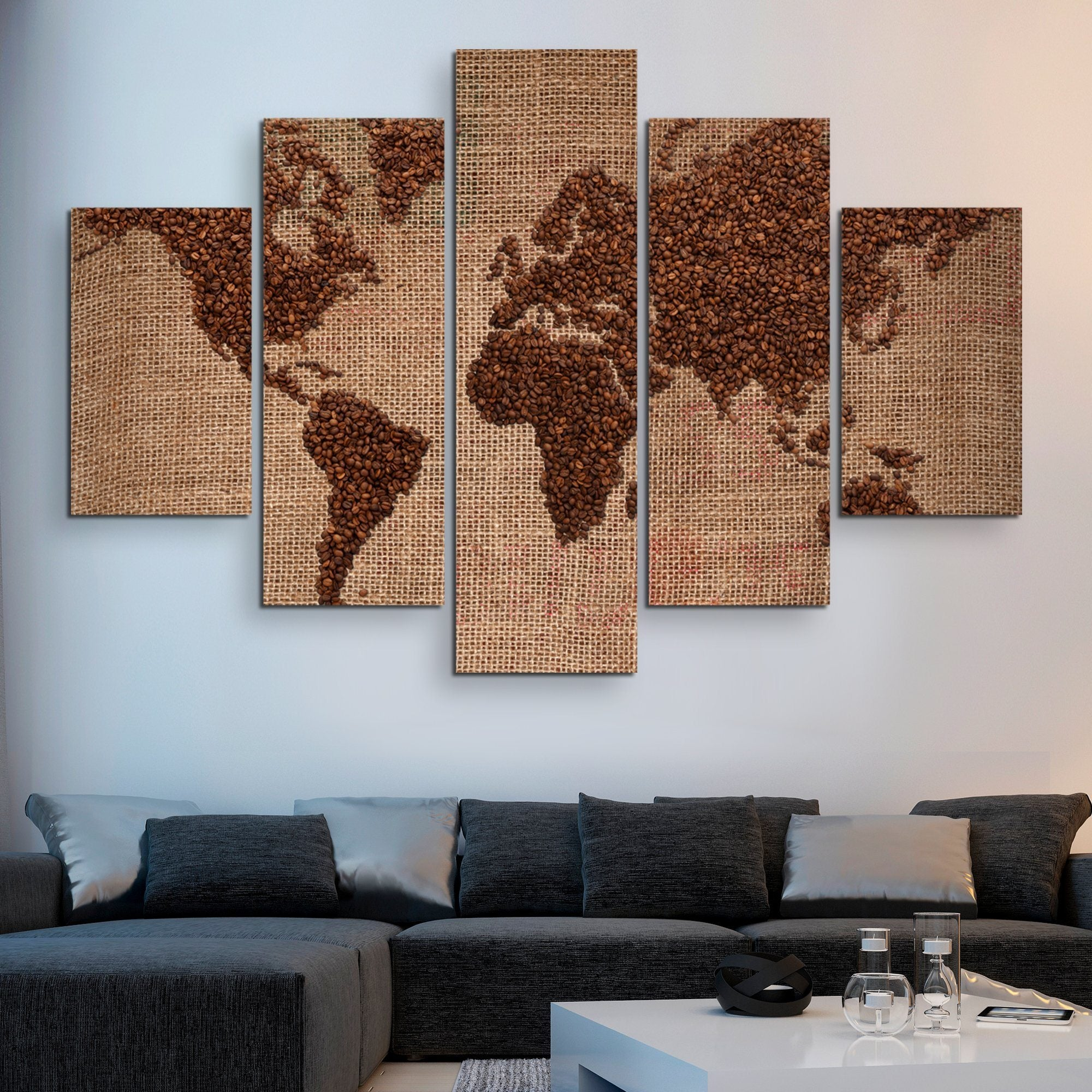 5 piece World of Coffee wall art