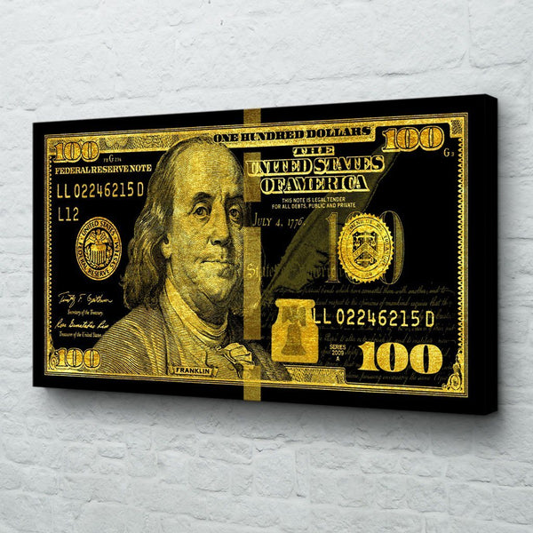 Big Benjamin 100 Dollar Bill Wall Art