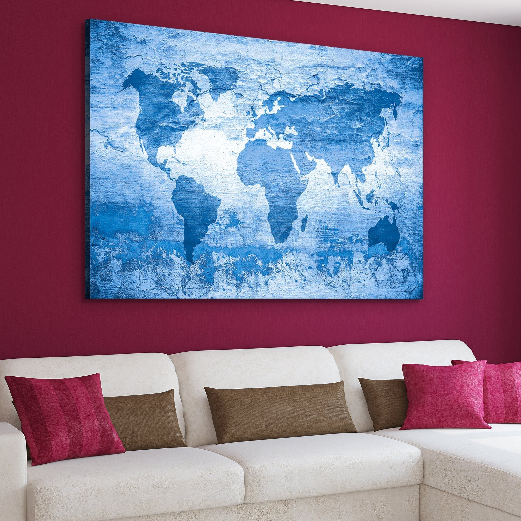 world map in blue art