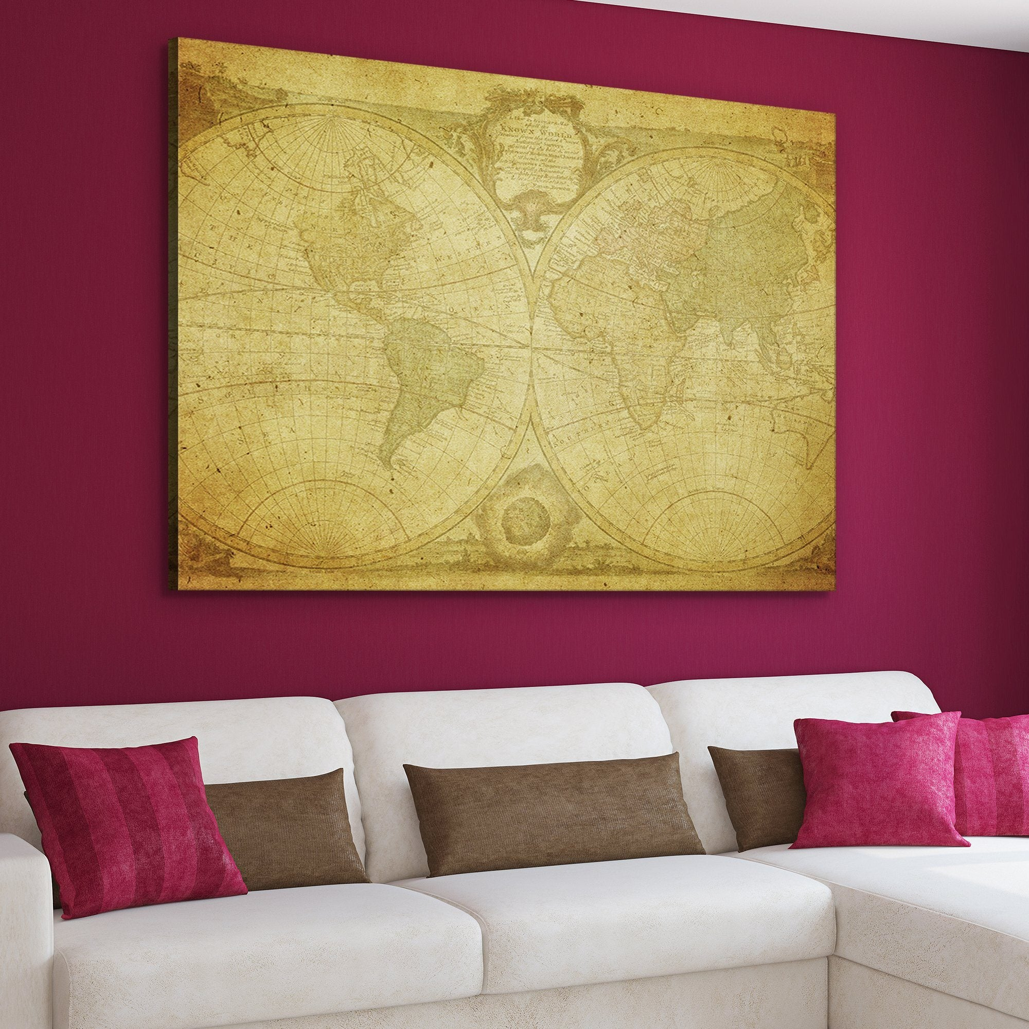 Antique World Map home decor