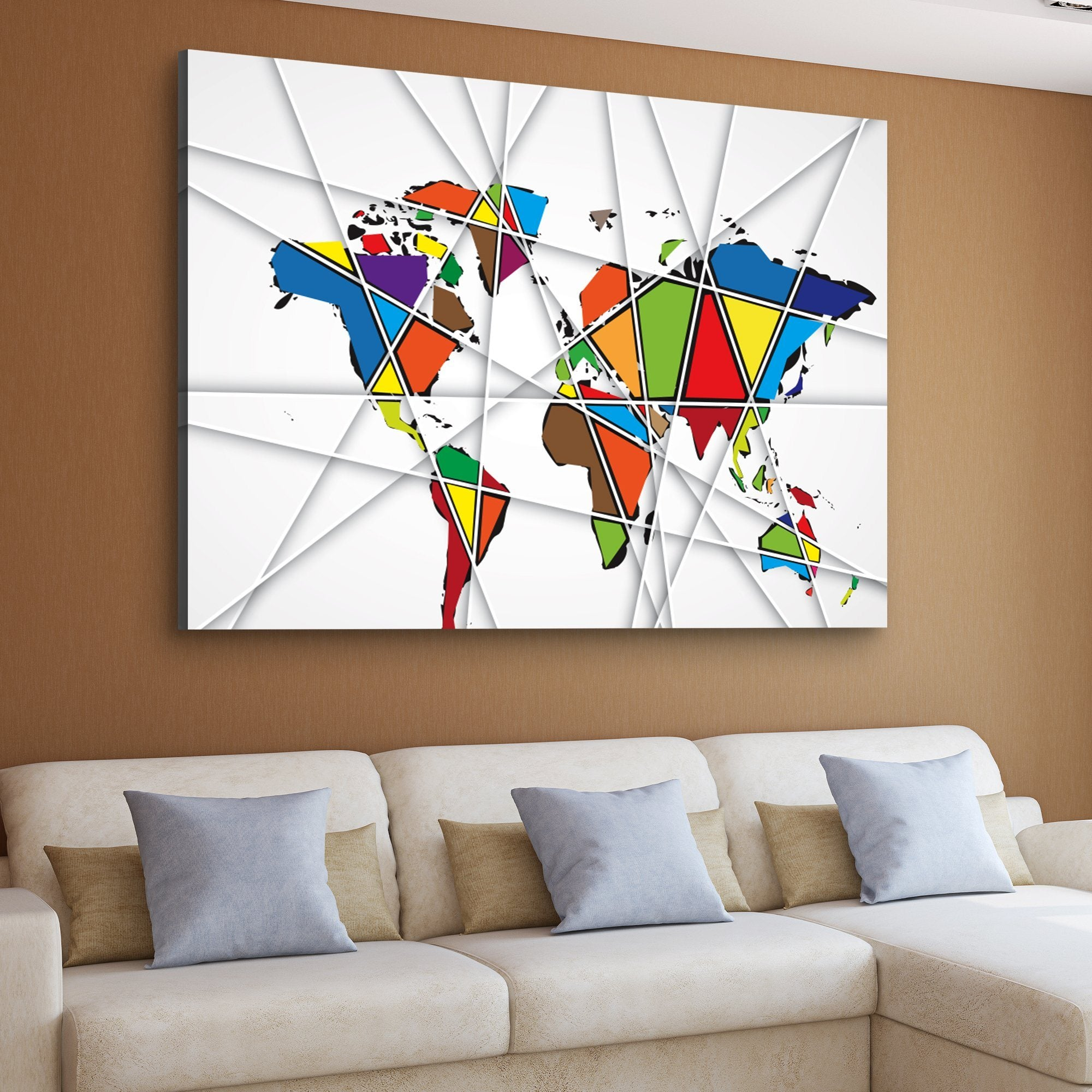abstract world map home art