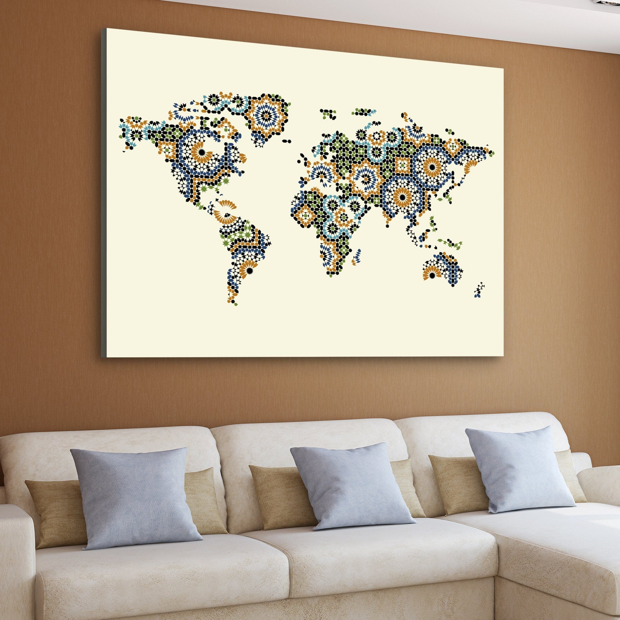 Morocco Mosaic World Map art