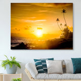Sunset by the sea wall art
