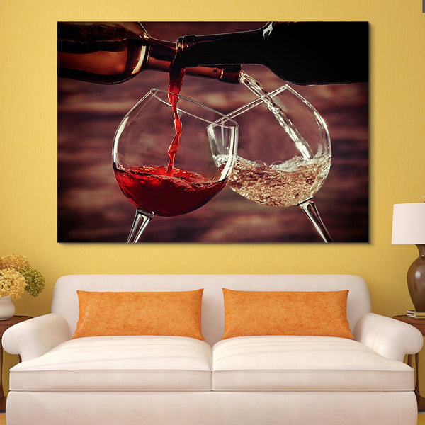 White and Red Wine Pouring wall art