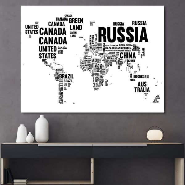 Typography World Map wall art