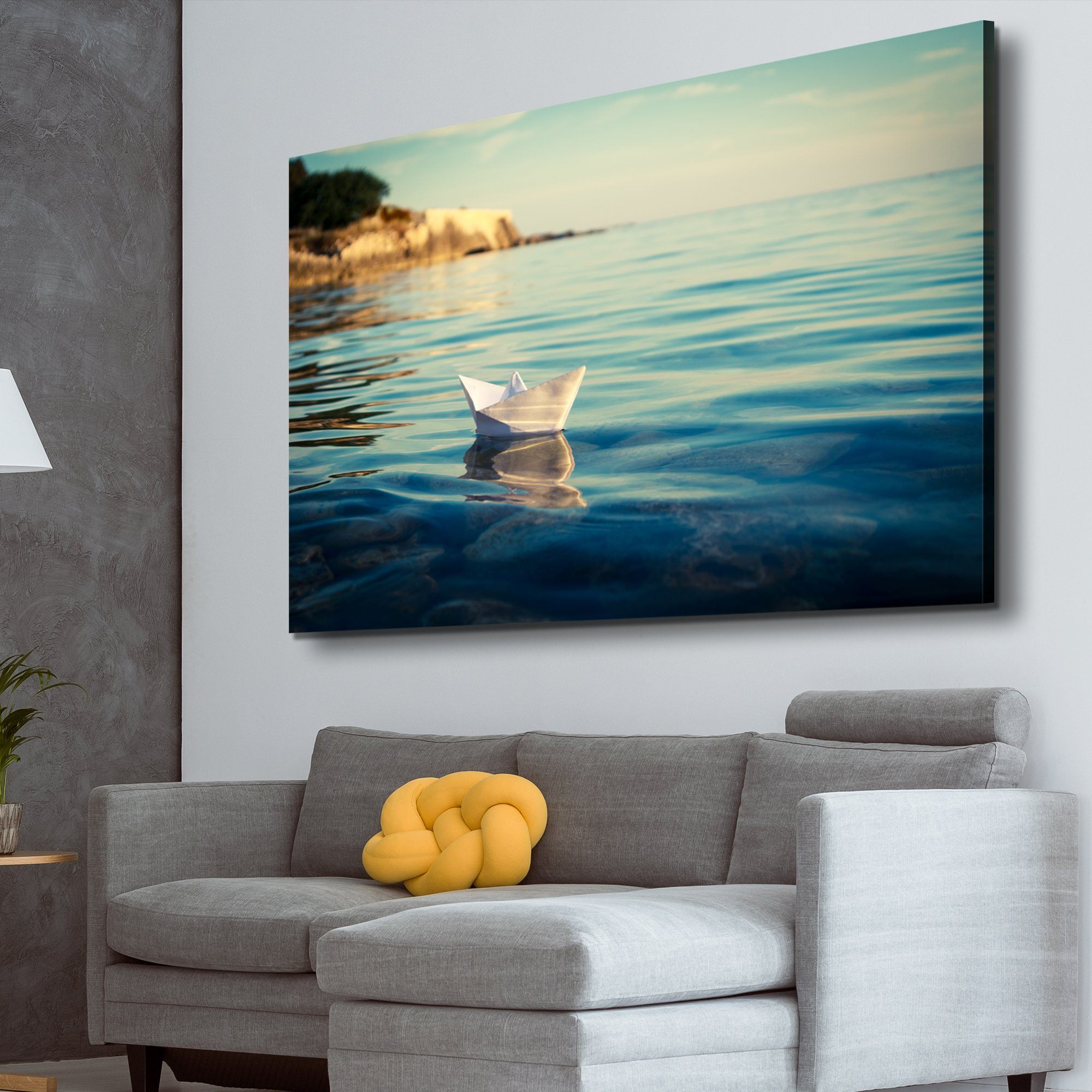 Origami Paper Boat living room wall art
