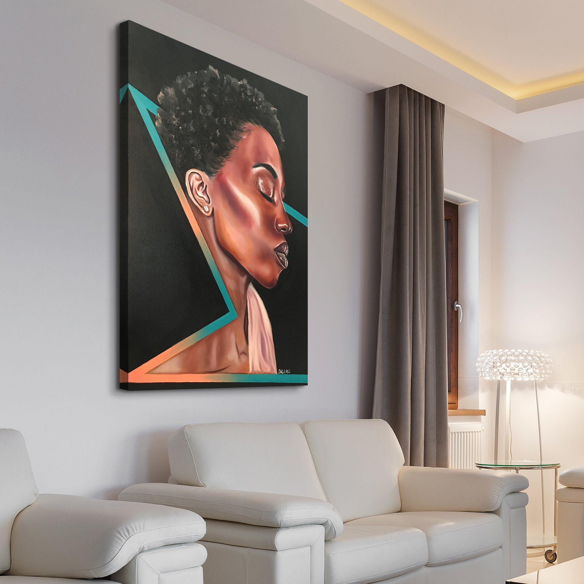 abstract woman living room art