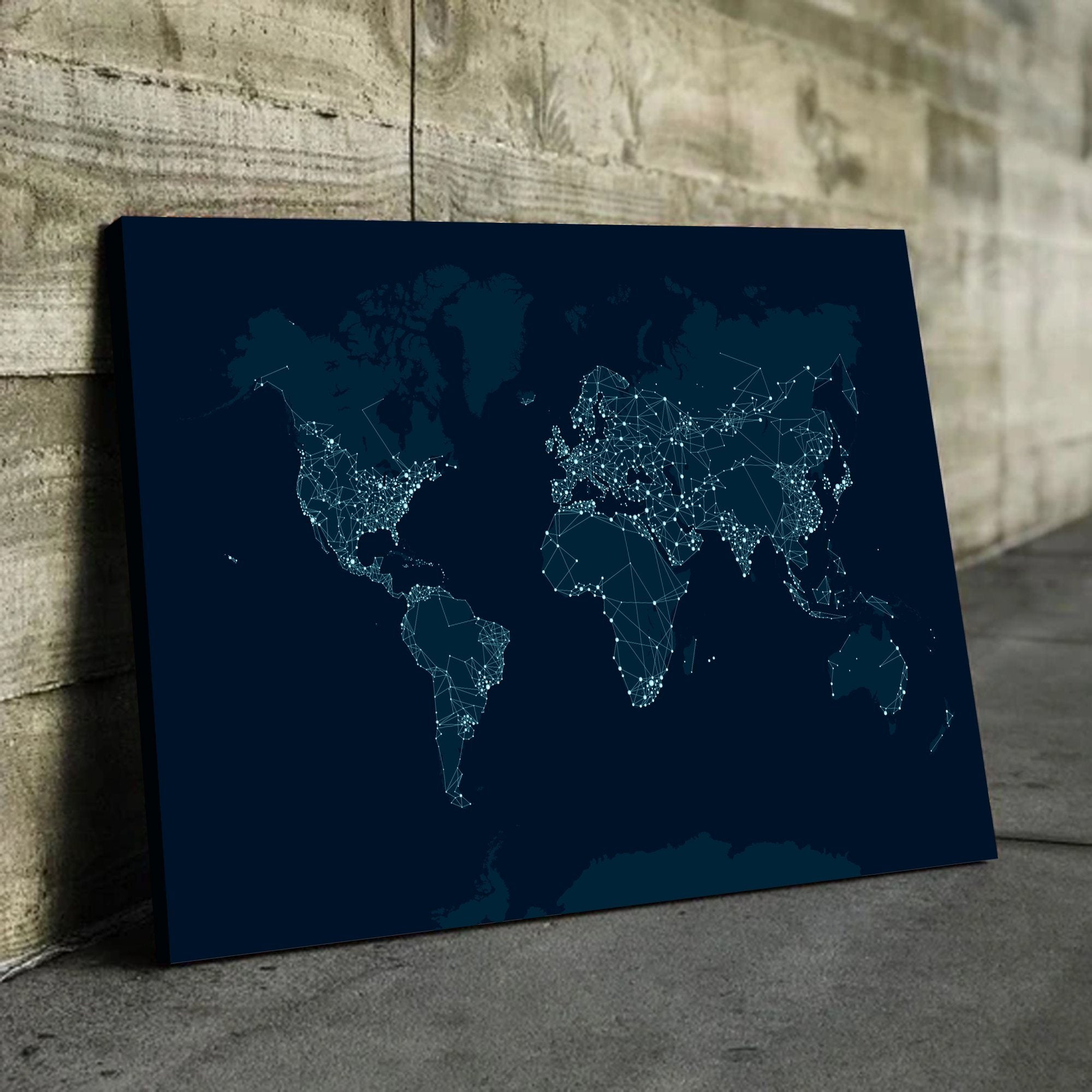 city lights world map art