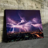 lightning storm in the city wall art