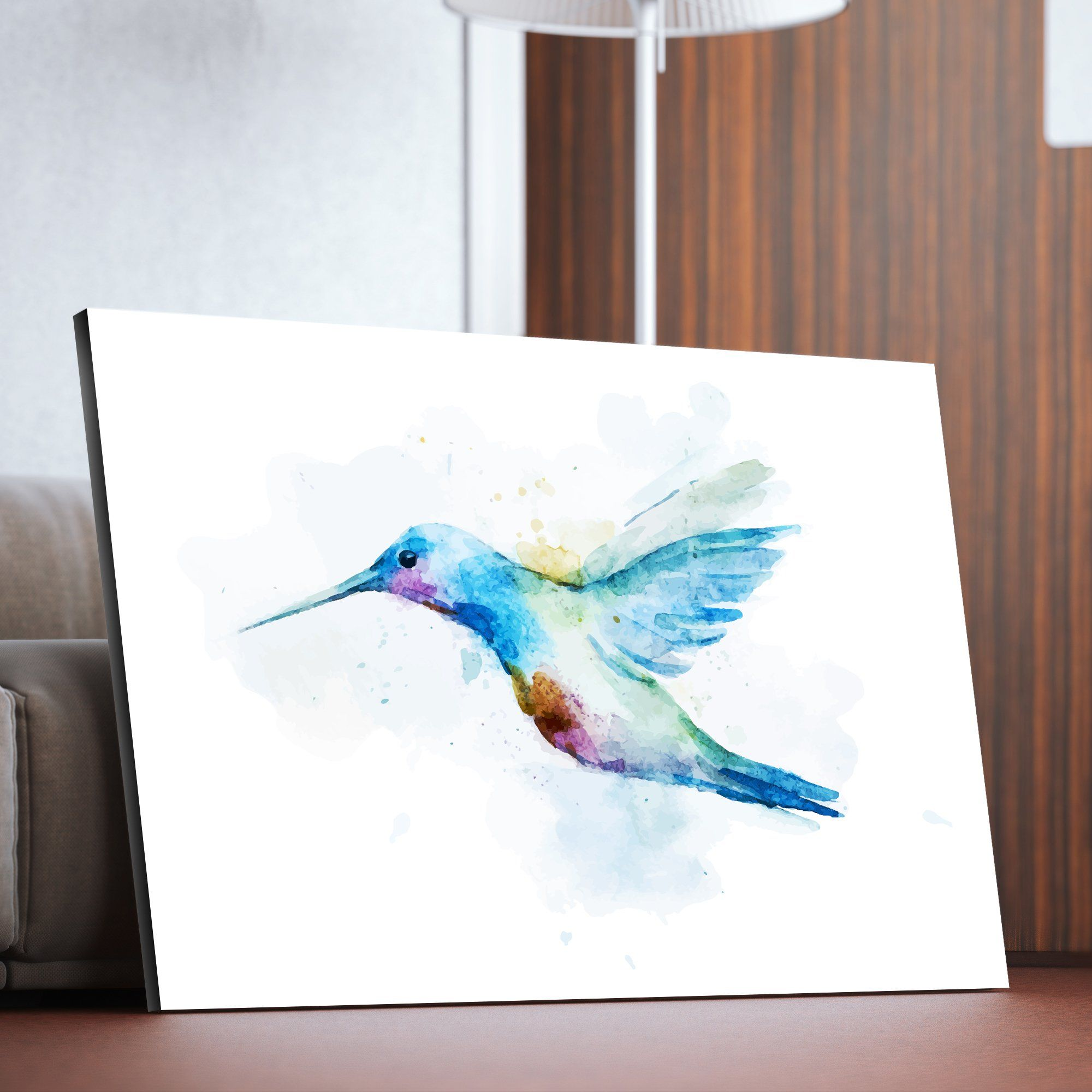 Watercolor humming bird wall art for living room