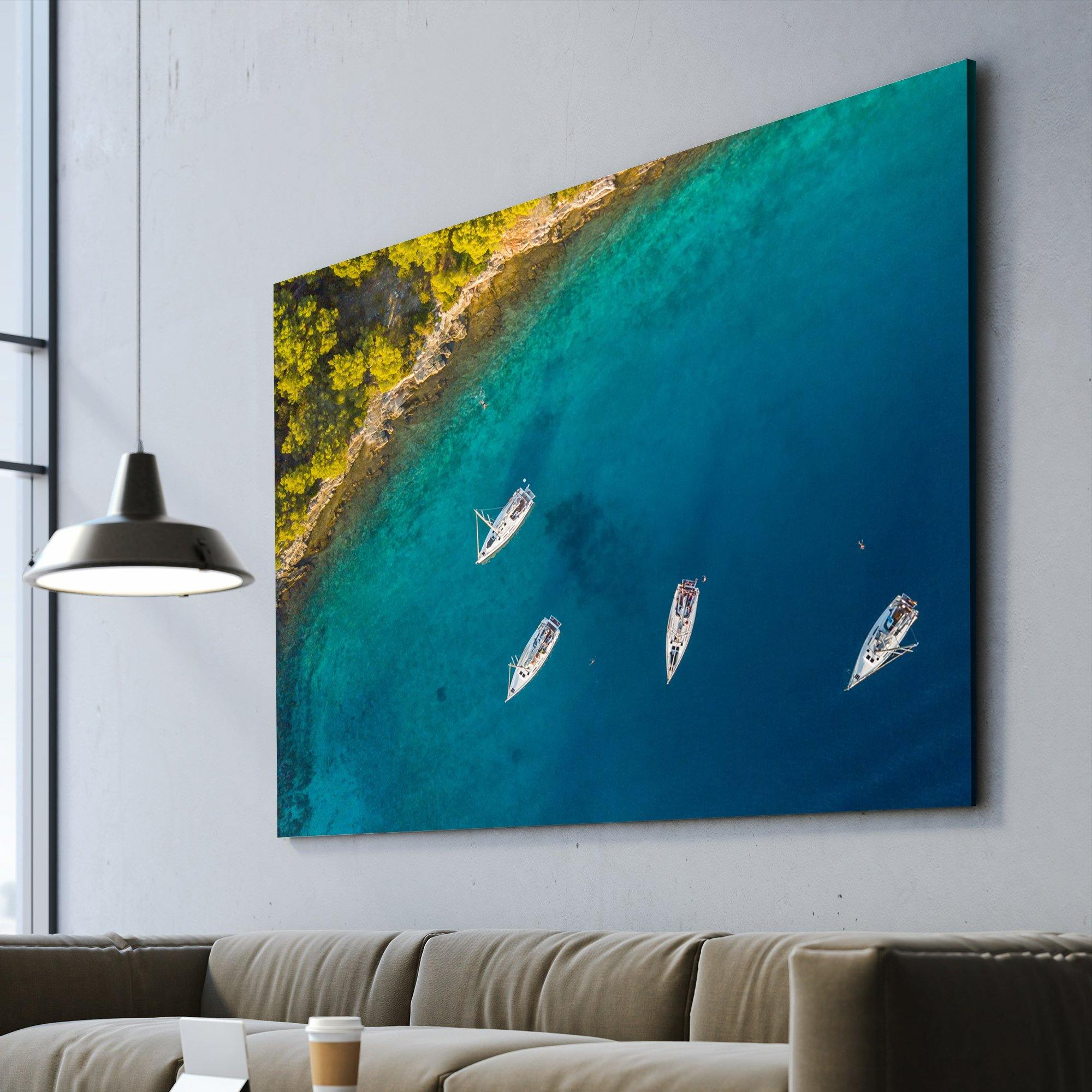 Aerial View of Sailing Boats living room wall art